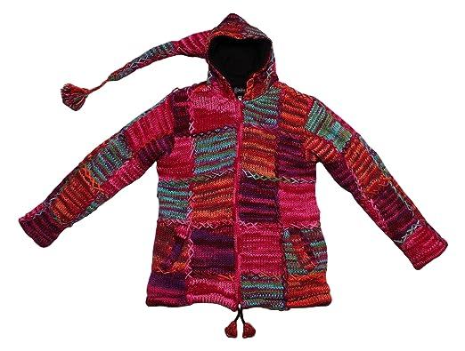 35861d3392cc Bäres Damen Mantel Bommel Zipfel Strick Jacke Kapuze handgewebte Echte  Nepal Wolle Einzelstück Mehrfarbig Gr. L-XL  Amazon.de  Bekleidung