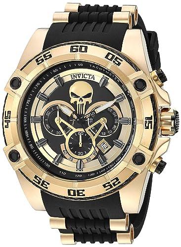 Invicta Marvel Reloj de hombre cuarzo correa de poliuretano color dorado 26860: Amazon.es: Relojes