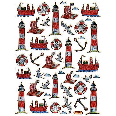 Lighthouse Boat sticker decal Metallic Glitter 1 sheet Dimensions: 13.5 cm x 10 cm: Kitchen & Dining