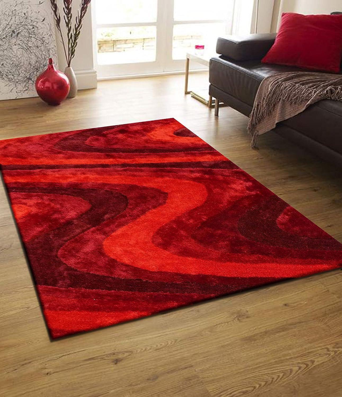 Amazon.com: RUGADDICTION Hermosa Alfombra Color Rojo hecha a mano estilo moderno suave y lujosa , gruesa pila de tamaño 5 x 7 pies OFERTA TIEMPO ...