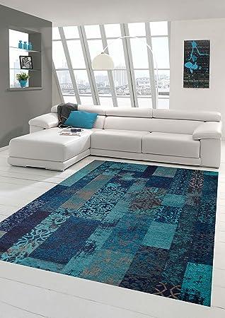 CARPETIA Designer Tapis Patchwork Vintage Tapis du Salon Orient kelem  Multicolor Bleu Turquoise Größe 160x230 cm