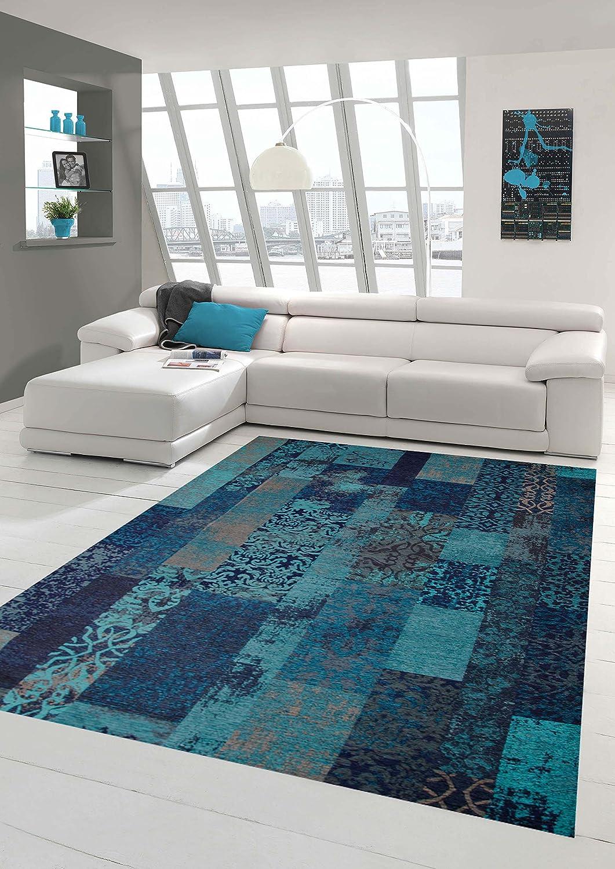 Carpetia Moderner Teppich Designer Teppich Orientteppich Patchwork Kelim Teppich türkis blau Größe 200 x 290 cm