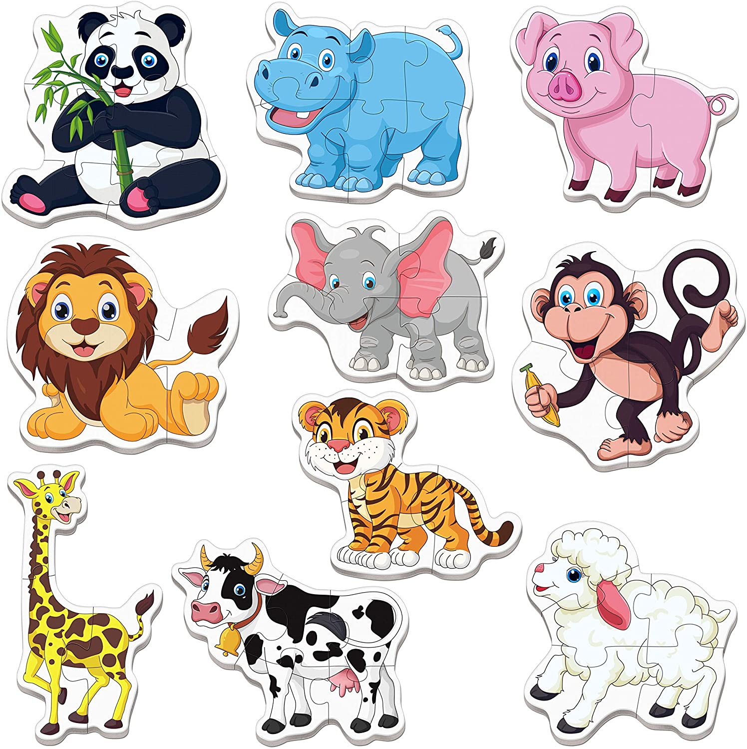 including Panda Tiger 10 Pack Animal Jigsaw Puzzles for 2 Elephant and More,Back Guiding Number for Beginner Puzzles Suitable for Preschool Toddlers Early Learning 40 PCS 3 Years Old Toddlers