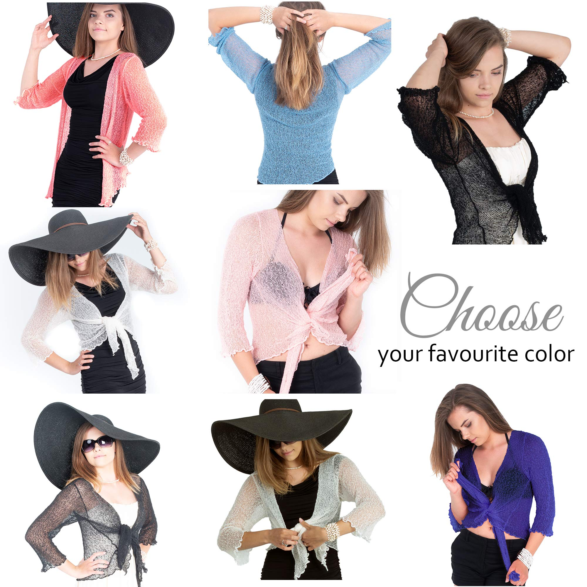 Boho Village Lightweight Cardigans for Women - 3/4 Sleeve Shrugs for Dresses. Dark Pink/Salmon Pink Size S-XL by Boho Village (Image #5)