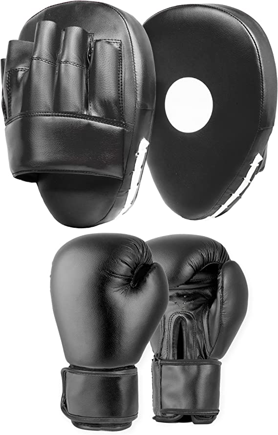 Focus Pads and Boxing Gloves Set Hook /& Jabs Mitts Punch Bag MMA Fight Training