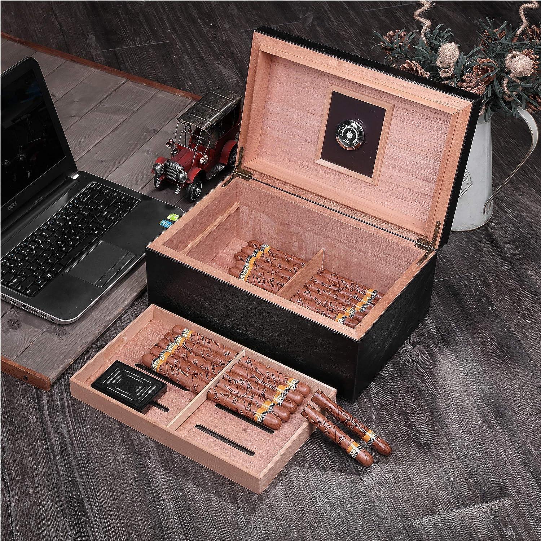10-20 Cigars Cedar Wood Cigar Desktop Humidor With Hygrometer Humidifier Holds
