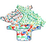 PandaEar Open Pocket Long Sleeve Bib 3-Pack Set| Baby & Toddler Waterproof Bibs Smock with Pocket and Crumb Catcher…