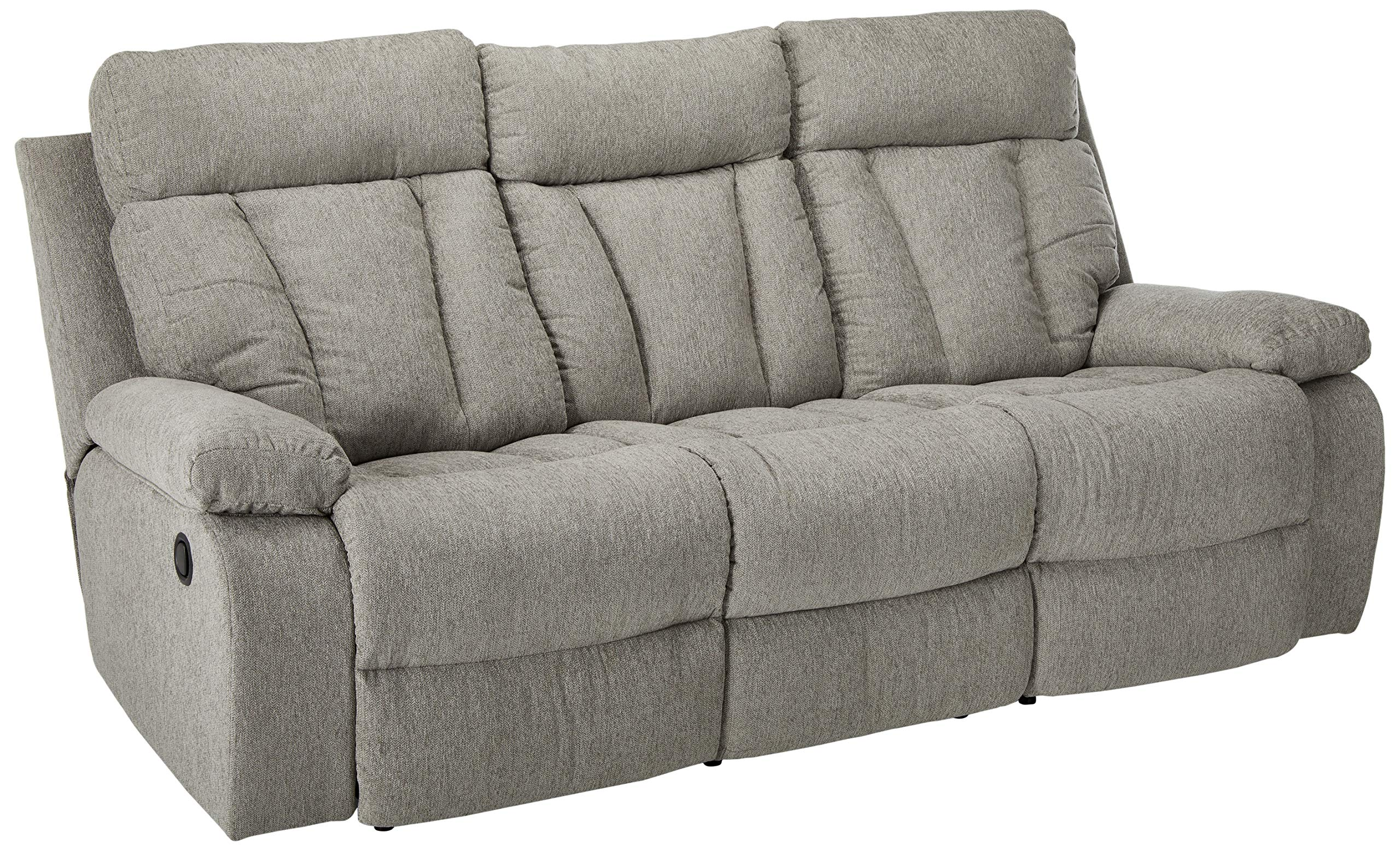 Signature Design by Ashley Mitchiner Reclining Sofa with Drop Down Table, Fog by Signature Design by Ashley
