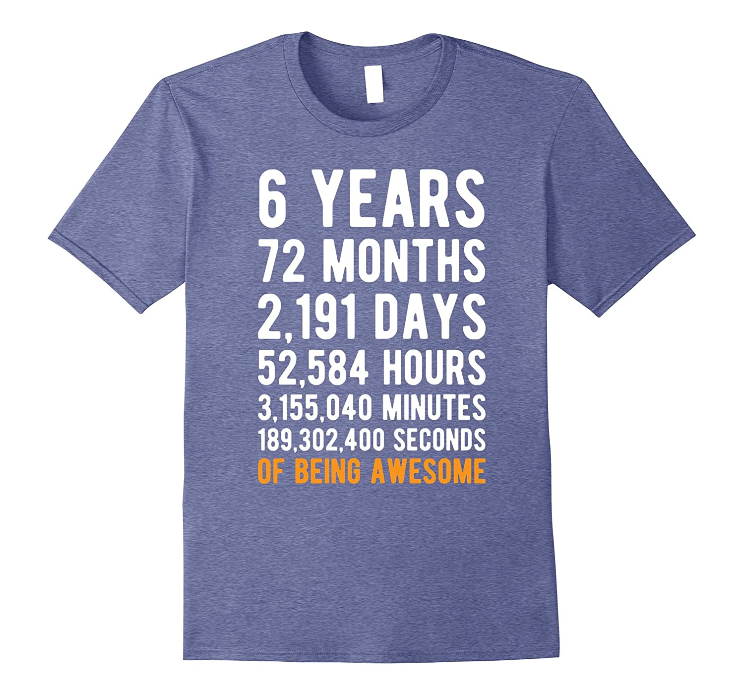 6th Birthday Gift T Shirt 6 Years