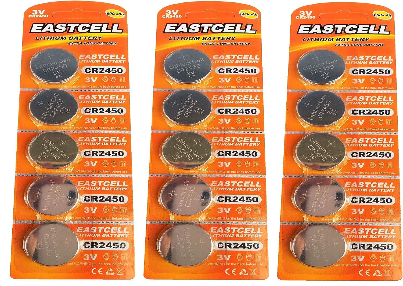 Eastcell 15 X Cr2450 3v Lithium Knopfzelle 600 Mah Elektronik