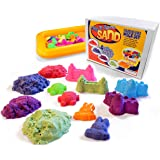 Play It Again Sand – Complete Mega Activity Set, 4 lbs Colored Sculpting Sand, 50 Sand Molds and Inflatable Tray