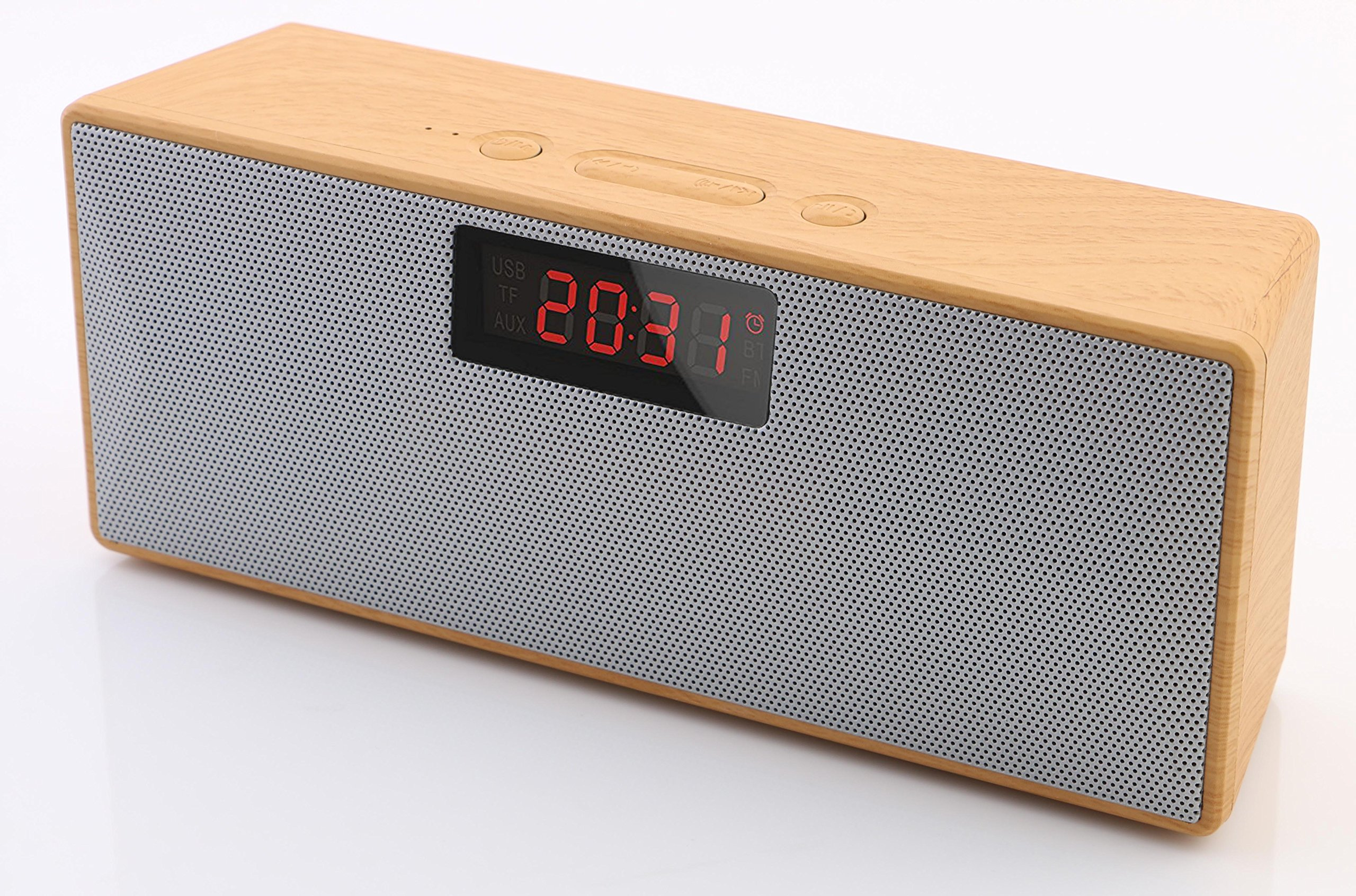 Monpos (Sport 1) Bluetooth Speaker with Built-in Mic, Dual-Driver, Alarm Clock, FM, MP3 Player (flash driver & Micro SD card) Portable Wireless Speaker with Superior Sound, Rich Bass. (Wooden)