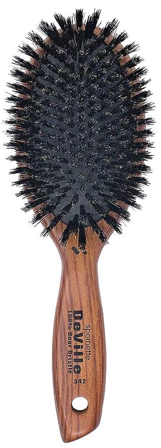 SPORNETTE Deville internacional 100% de cerdas de jabalí – Cepillo acolchado ovalado