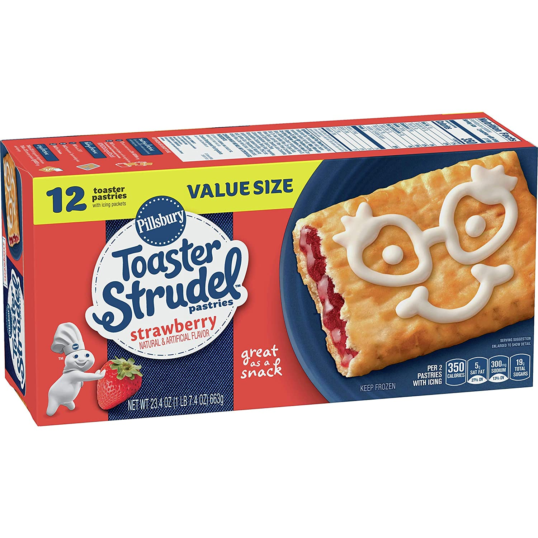 Pillsbury Toaster Strudel, Strawberry, Frozen Pastries, 12 ct, 23.4 oz