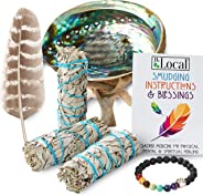 JL Local 3 White Sage Smudge Gift Kit - Abalone Shell, Feather, Stand, Instructions & More - Smudging, Cleansing, Healing & S