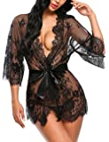 ADOME Women's Kimono Robe Lace Babydoll Lingerie Sheer Nightgown Sleepwear