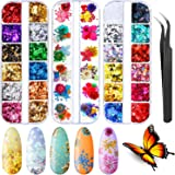48 Pieces 3D Holographic Nail Dry Flowers, 12 Colors Butterfly Nail Glitter Sequins, 12 Colors Foil Nail Flake with Tweezers