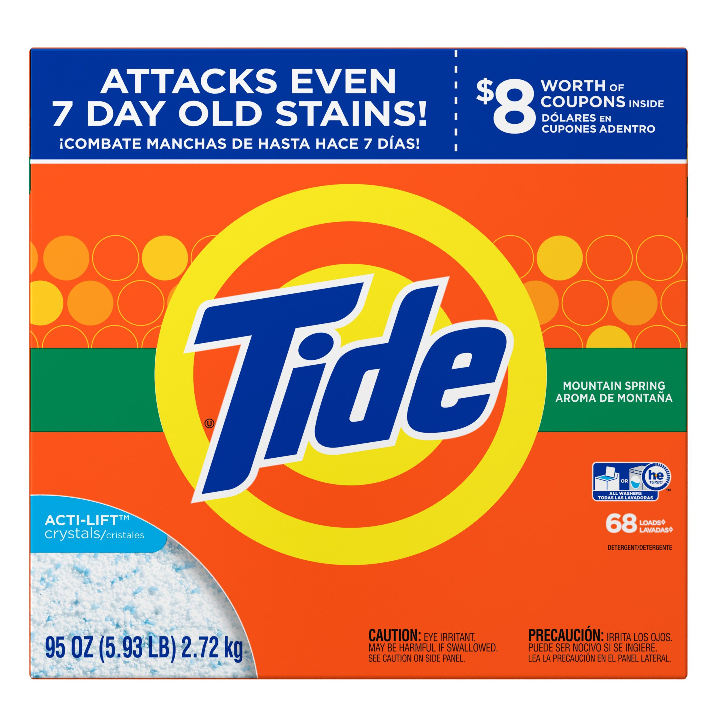 Tide Mountain Spring He Turbo Powder Laundry Detergent 68 Loads, Ultra Mountain Powder, 95