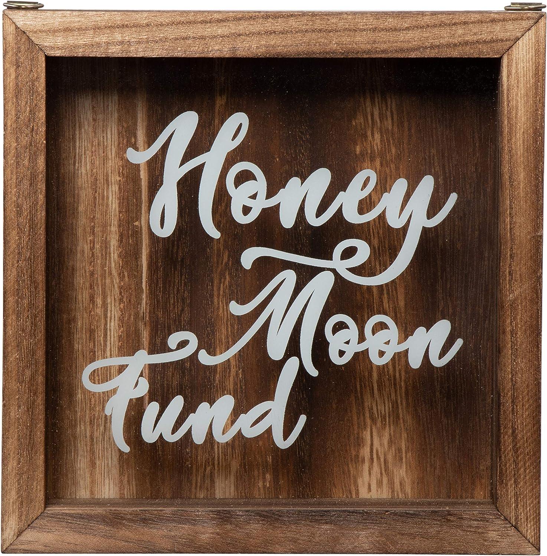 Shadow Box Bank - Wooden Honeymoon Fund Shadow Box, Adult Piggy Bank, Money Saving Bank, for Travel Vacation Honeymoon Wedding Fund, Natural Wood, 7.1 x 7.1 x 1.8 Inches