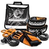 GearAmerica Off-Road Recovery Kit | Tow Strap + Tree Saver + Heavy Duty Snatch Block Pulley + Black D-Ring Shackles…