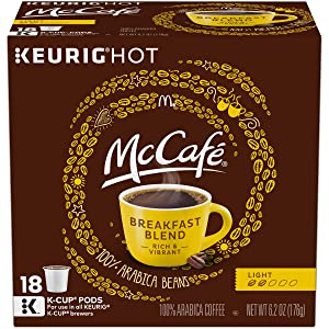 McCafe Breakfast Blend Keurig K Cup Coffee Pods (72 Count, 4 Boxes of 18)