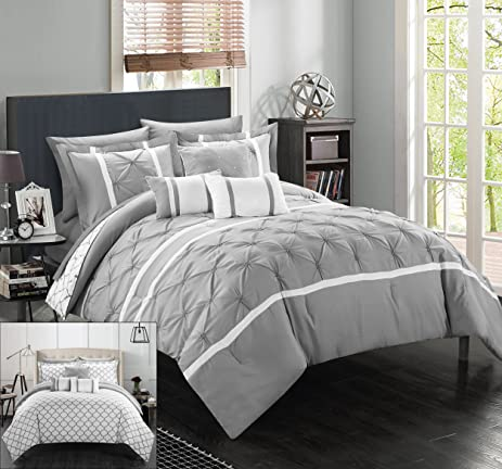Chic Home 10 Piece Dorothy Pinch Pleated Ruffled And Reversible Geometric  Design Printed Bed In A