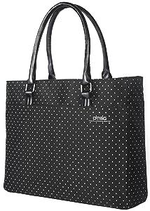 DTBG Laptop Tote Bag, 15.6 Inch Women Shoulder Bag Nylon Briefcase Casual Handbag Laptop Case for 15-15.14 Inch Tablet/Ultra-Book/MacBook/Chromebook (Black+White Dot)
