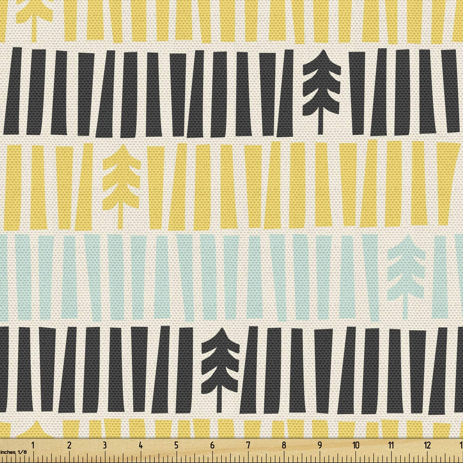 Ambesonne Mid Century Fabric by The Yard, Abstract Christmas Holiday Tree Illustrations Inspired by The Fifties, Decorative Fabric for Upholstery and Home Accents, 2 Yards, Yellow Black