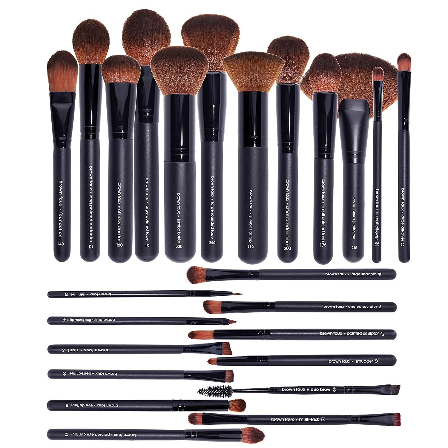 BaeBlu UltraPlush Premium Professional Faux Makeup Brushes, Vegan & Cruelty Free, Made in USA, Small Rounded Face