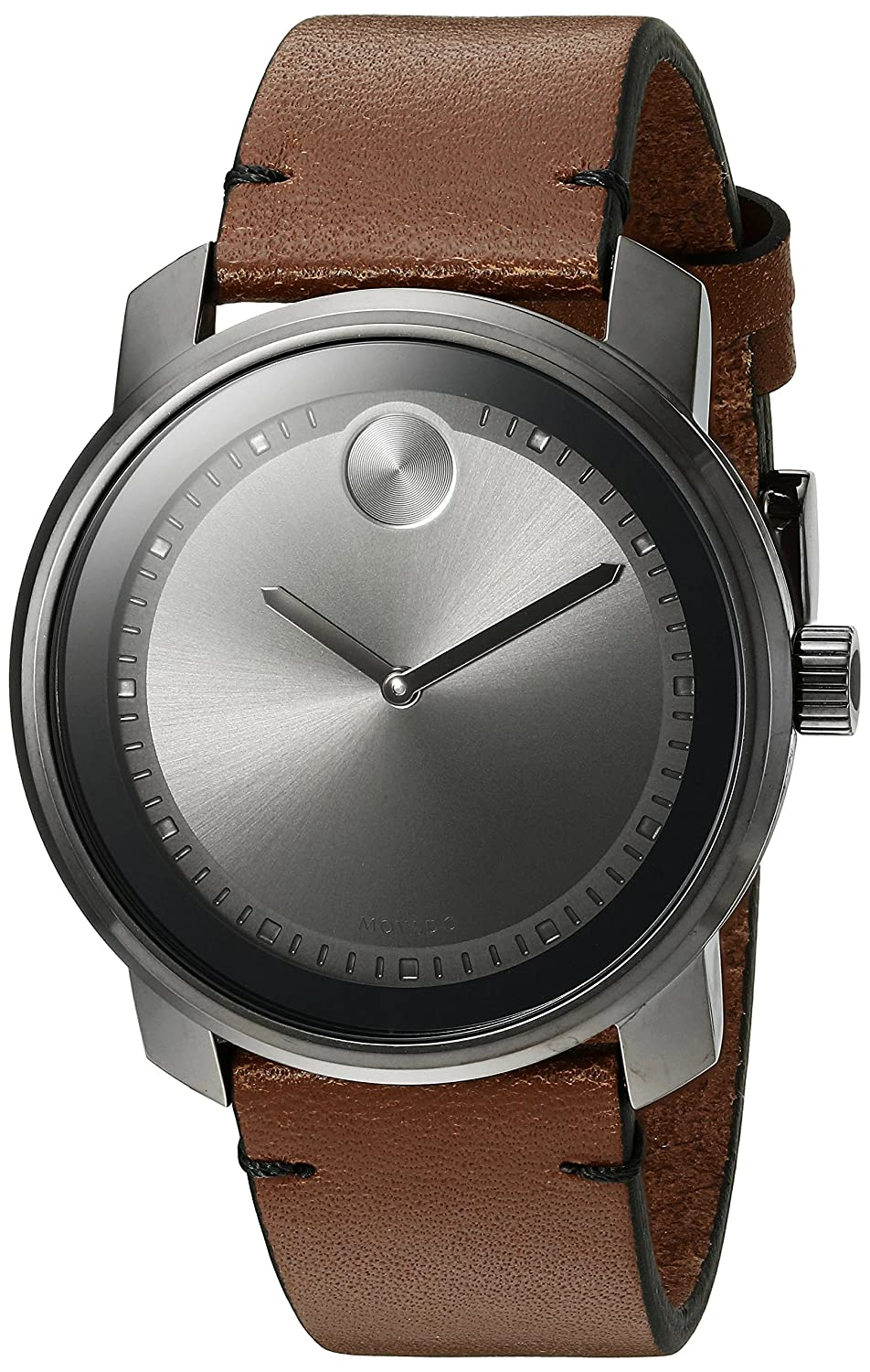 Movado Men s Swiss Quartz Stainless Steel and Brown Leather Casual Watch Model 3600366