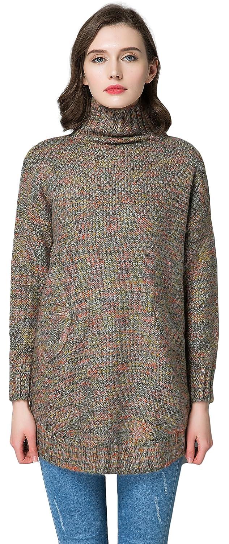 KUBITU Womens Casual Boyfriend Sham Pocket Cowl Neck Vintage Cable Knit Sweater