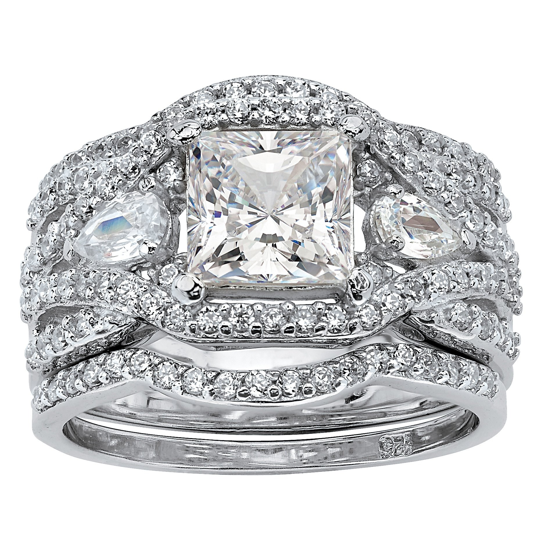 Princess-Cut White Cubic Zirconia Platinum over .925 Silver 3-Piece Highway Bridal Ring Set