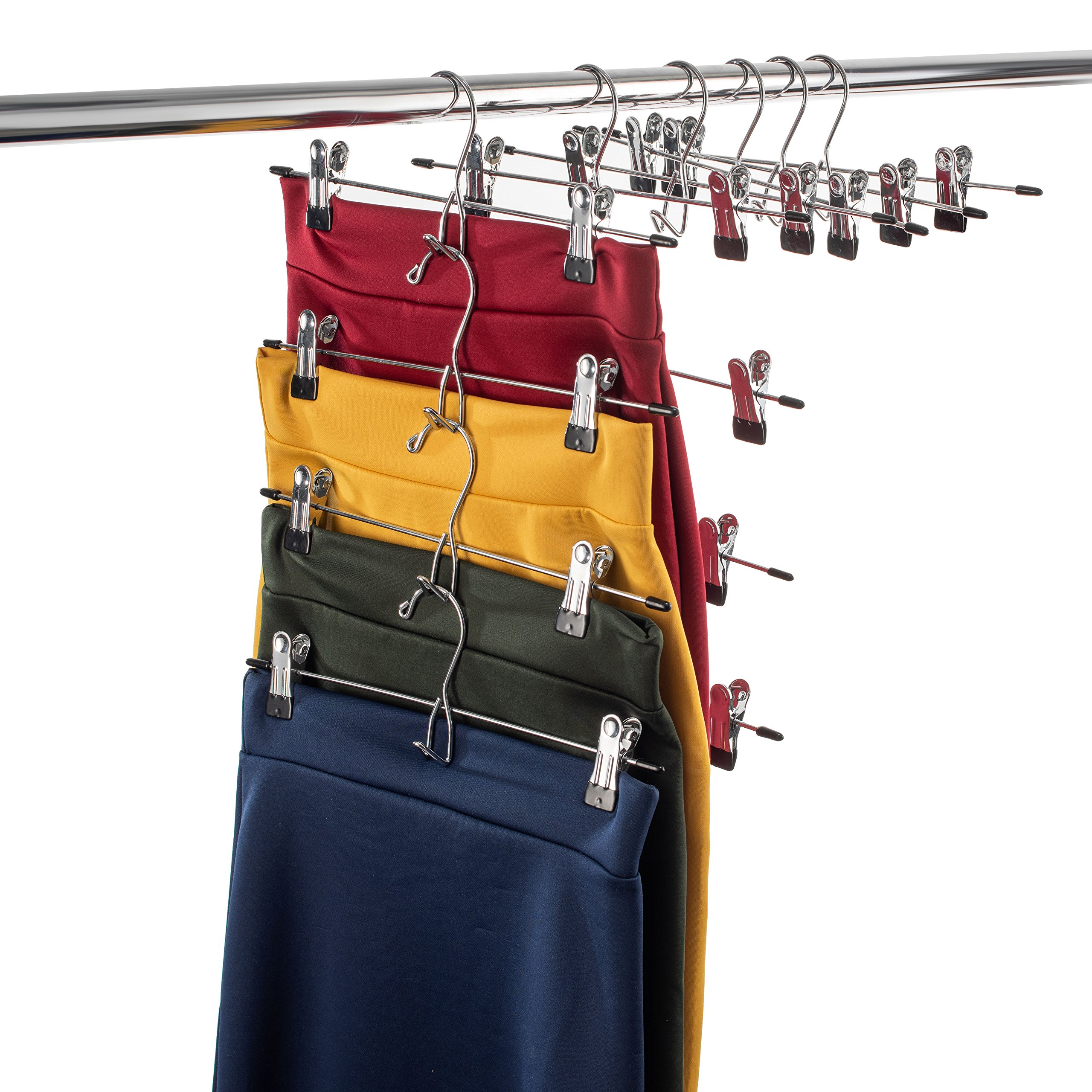 Heavy-Duty Add-On Skirt Hangers with Clips (20 Pack) Multi Stackable Add on Hangers, Adjustable Clip Pants Hanger, Skirt Hanger with Clips, Chrome Hook, Cascading Clip Hanger Jeans, Slacks, Bottoms