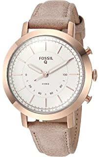 Fossil Q Womenu0027s Neely Stainless Steel And Leather Hybrid Smartwatch,  Color: Rose Gold