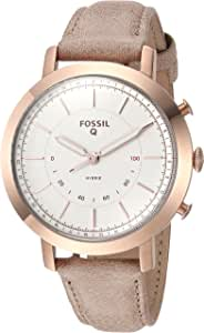 Fossil Women Neely Stainless Steel and Leather Hybrid Smartwatch, Color: Rose Gold-Tone, Beige (Model: FTW5007)