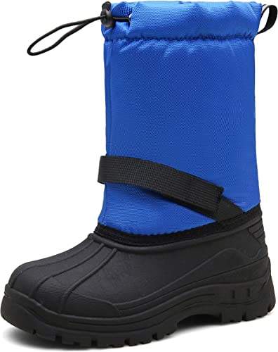 Boys Girls Winter Snow Boots Warm Waterproof Anti-Slip Anti-Collision for Skiing
