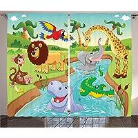 Orange Venue Çift Kanatlı Fon Perde, Kumaş, Hayvanlar Alemi Desenli, 120 X 220 cm