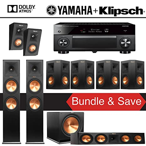 Klipsch RP-280F 7 1 2-Ch Reference Premiere Dolby Atmos Home Theater  Package with Yamaha AVENTAGE RX-A3070BL 11 2-Channel Network AV Receiver