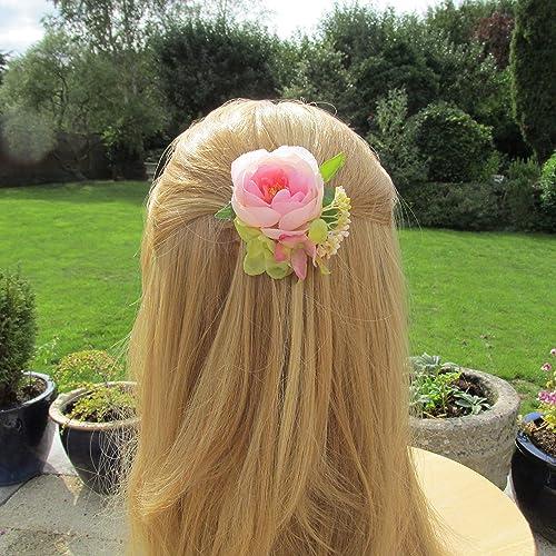 Floral Hair Clip Pink Hair Flowers Bridesmaids Flower Hair Clip