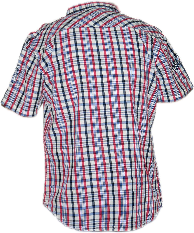 Cabaneli Milano Ninguna Italia camisa de manga corta a cuadros College Style azul marino/rojo/blanco: Amazon.es: Ropa y accesorios