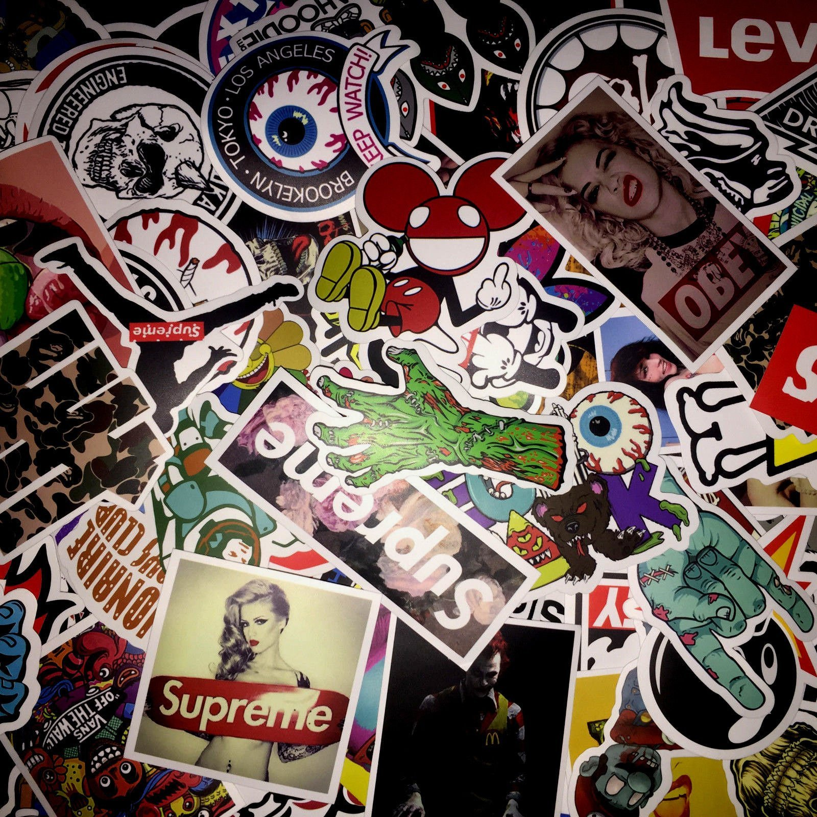 Stickers Calcos 100 un. Surtidos Origen U.S.A. (141Z5QR6)