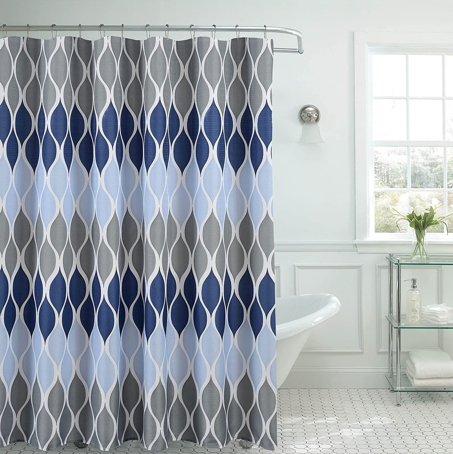 Clarisse Faux Linen Textured 70 X 72 In Shower Curtain With 12 Metal Rings Blue Home Kitchen