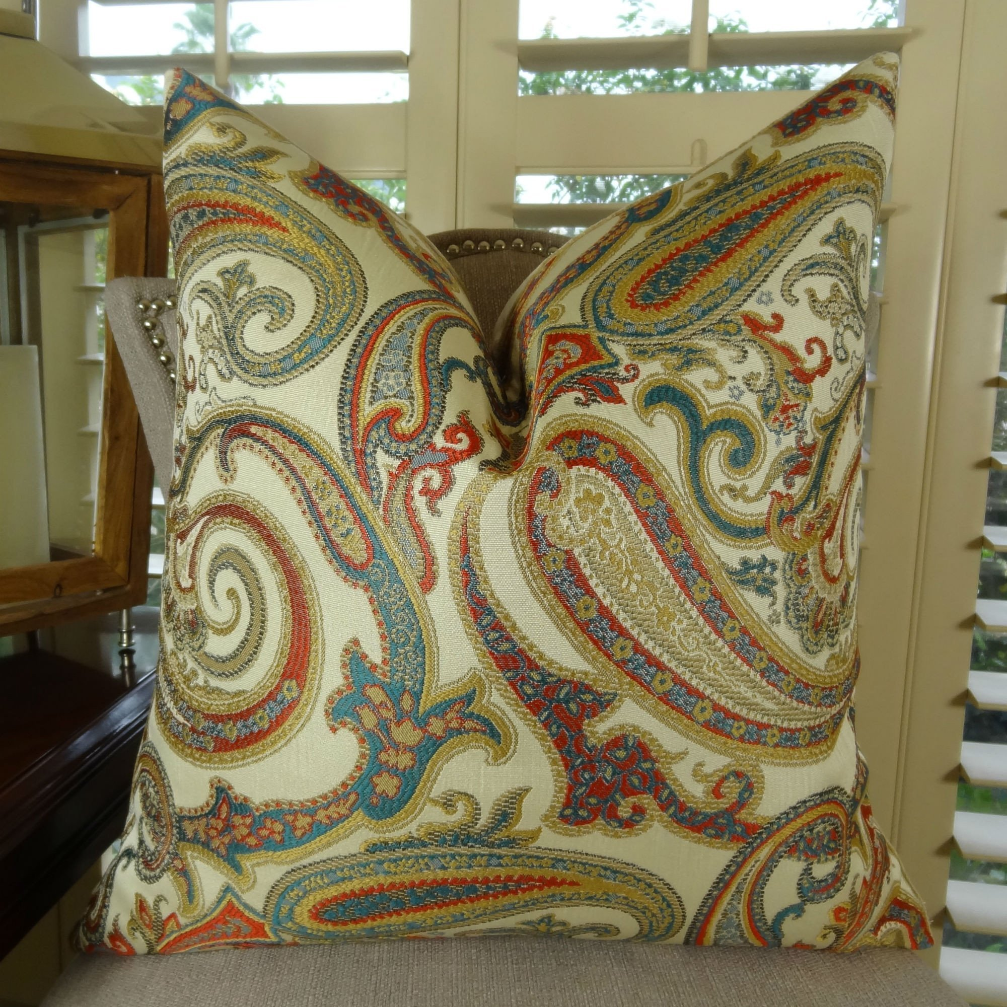 Thomas Collection Luxury Decorative Throw Pillow, Turquoise Red Cream Taupe Blue Paisley Floral Pillow, Red Paisley Pattern Pillow, COVER ONLY, NO INSERT, Made in America, 11064