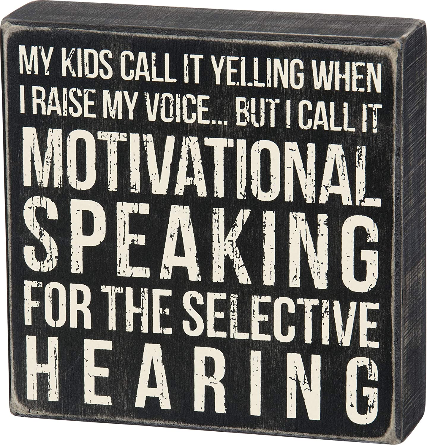 Primitives by Kathy 25160 Classic Box Sign, 6 x 6-Inches, Raise My Voice