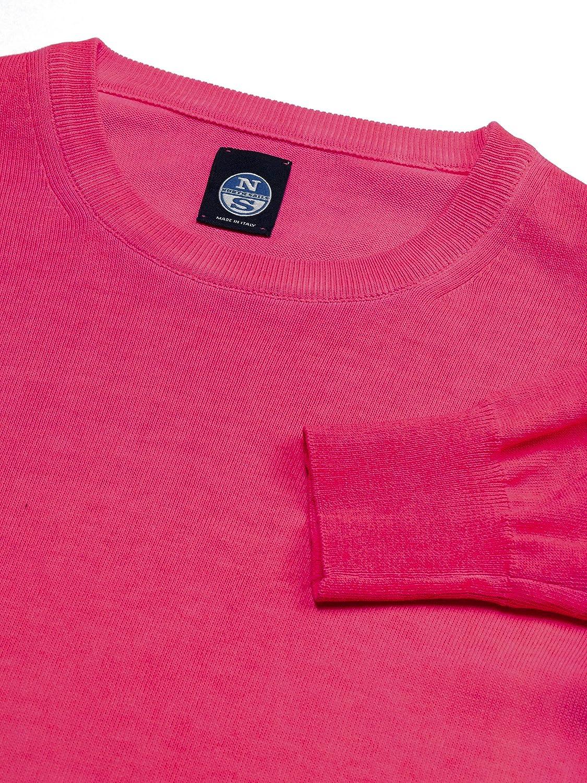 NORTH SAILS Ponticello Uomo in 100% Cotone Regolare Adatto con Maniche Lunghe e Girocollo e la Costine a Coste Pink Fluo 0553