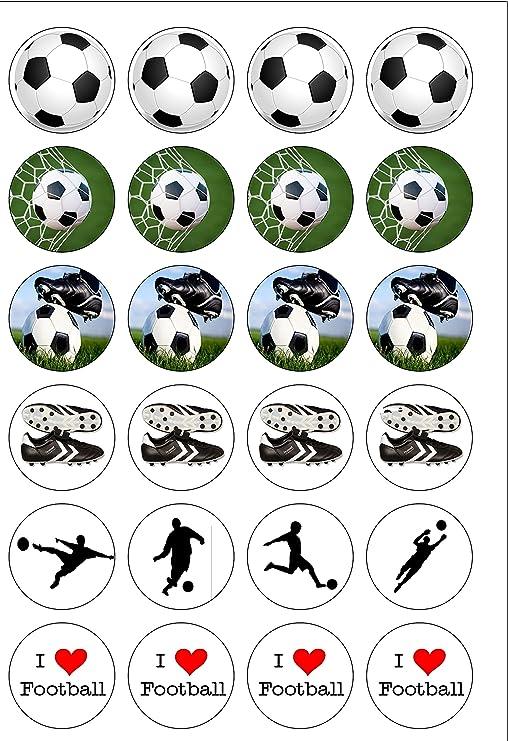 24 PRE CUT I Love cuadrícula comestibles de balón de fútbol molde ...