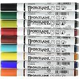 Pebeo Set di pennarelli per porcellana, terracotta, ceramica, acciaio smaltato, vetro, rame e metallo, Multicolore (Blue/Orange/Red), 9 pz.