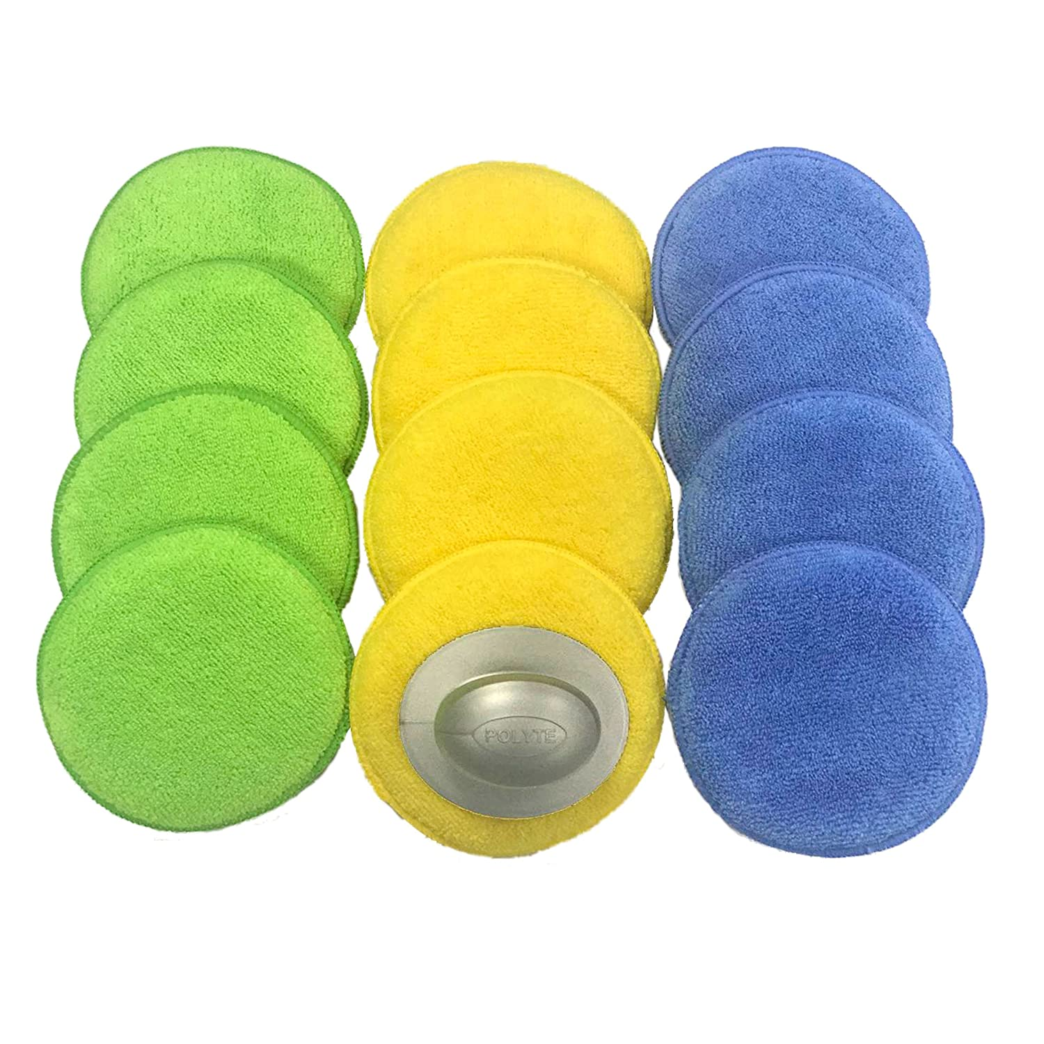 Green, 8 Pack 5 in, Polyte Microfiber Detailing Wax Applicator Pad