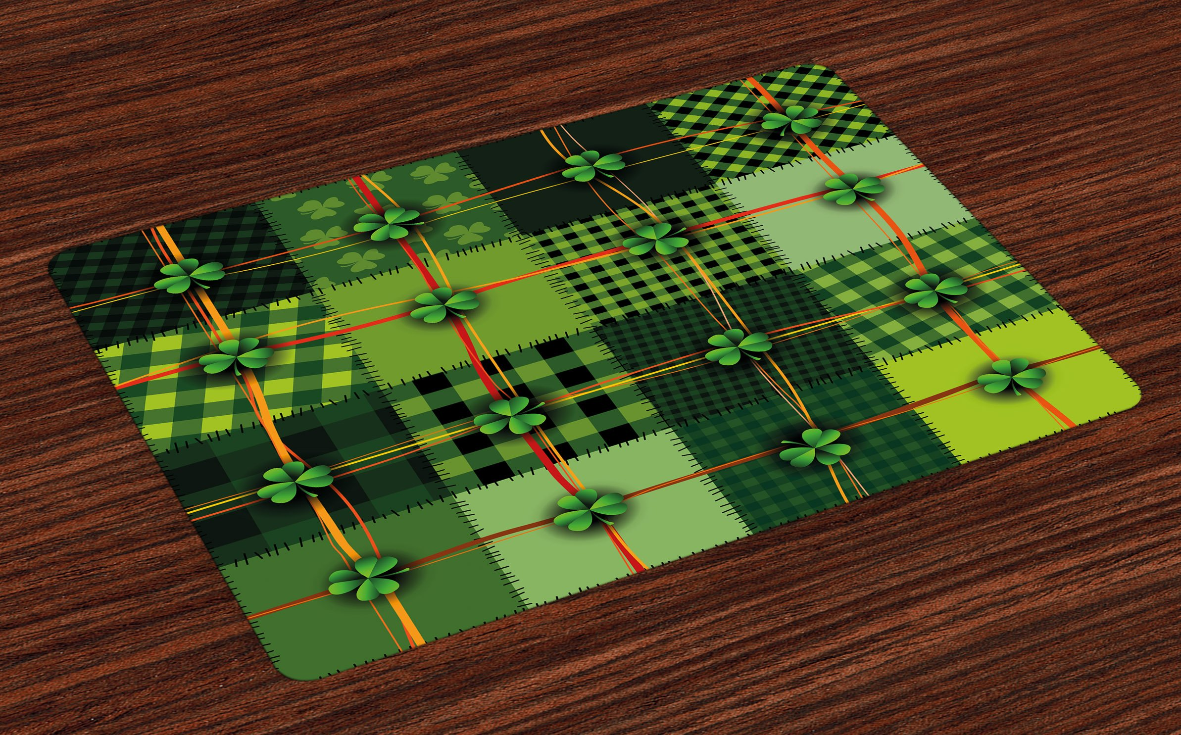 Ambesonne Irish Place Mats Set of 4, Patchwork Style St. Patrick's Day Themed Celtic Quilt Cultural Checkered with Clovers, Washable Fabric Placemats for Dining Room Kitchen Table Decor, Multicolor