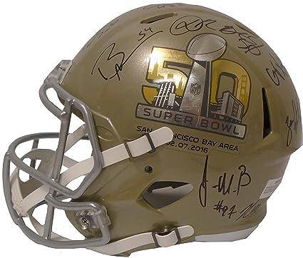 1c3875c0fba Denver Broncos Team Autographed Hand Signed Gold Super Bowl 50 Riddell Full  Size Football Helmet with
